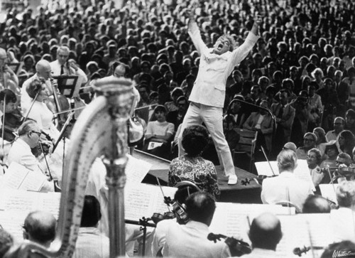 08 Jul 1970, Lenox, Massachusetts, USA --- Conductor Leonard Bernstein at the climax of Mahler's symphony performed by the Boston Symphony in Lenox, Massachusetts. --- Image by © Bettmann/CORBIS